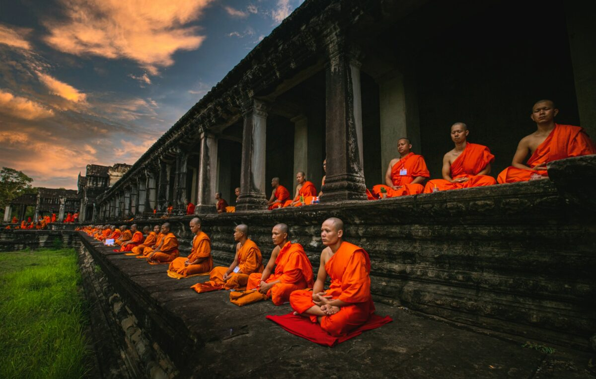 sitting monks